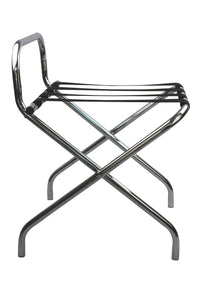chrome folding luggage rack suitcase stand with back from side