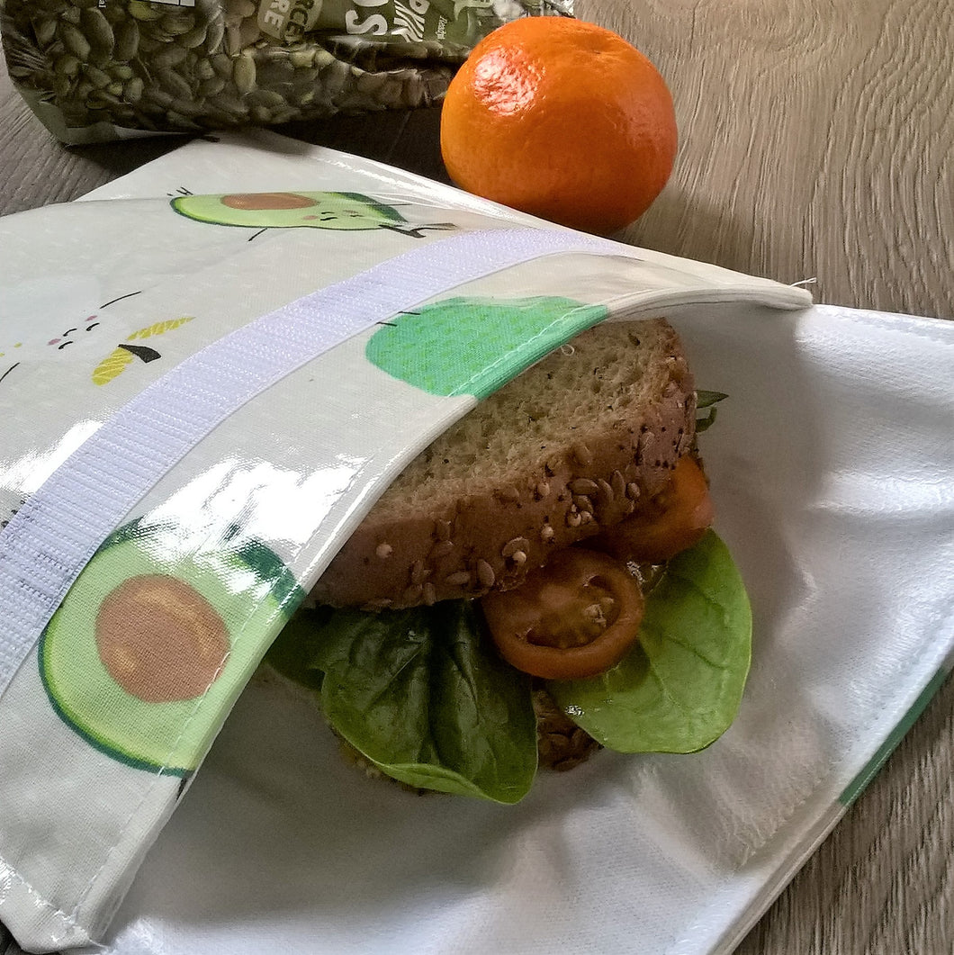 Reusable oilcloth sandwich pouches with food safe Procare lining in 7  patterns