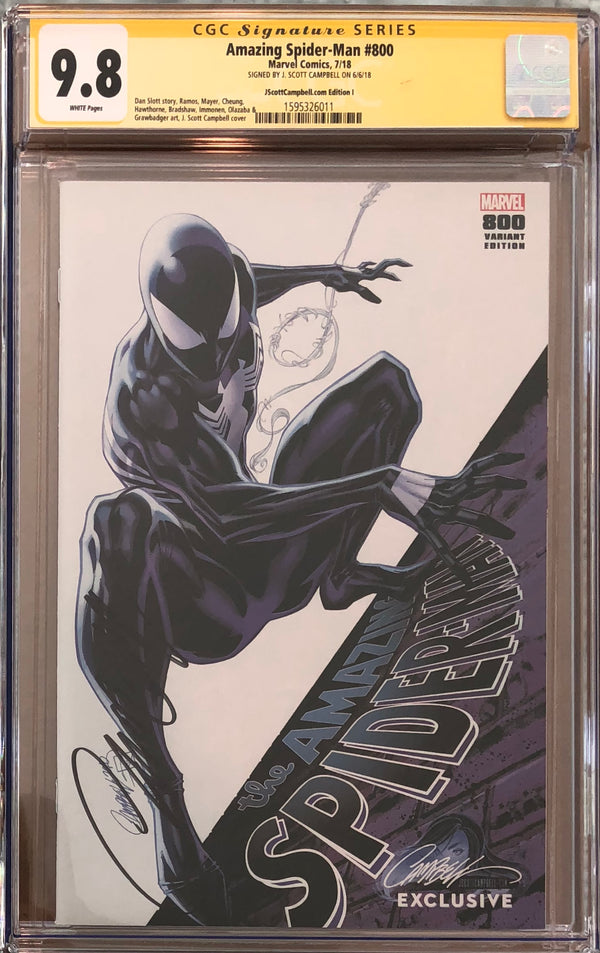 "Amazing Spider-Man #800 J. Scott Campbell I Edition SDCC ""Black Spider-Man"" Exclusive CGC 9.8 SS"