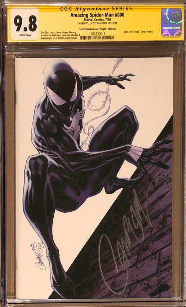 "Amazing Spider-Man #800 J. Scott Campbell Edition I ""Black Spider-Man"" SDCC Virgin Exclusive CGC 9.8 SS"