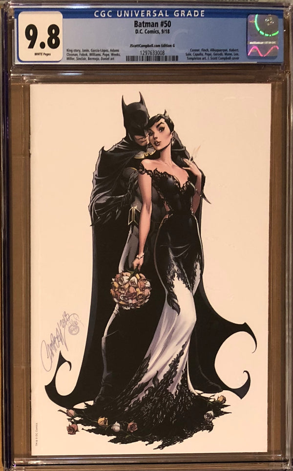 "Batman #50 J. Scott Campbell Edition G SDCC Virgin ""White Wedding"" Exclusive CGC 9.8"