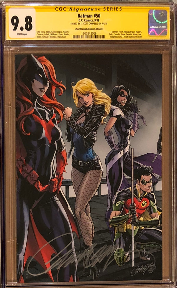 Batman #50 J. Scott Campbell Edition B Black Canary, Huntress, and Batwoman Exclusive CGC 9.8 SS