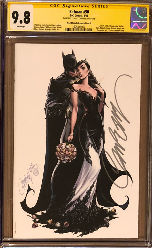 "Batman #50 J. Scott Campbell Edition G SDCC Virgin ""White Wedding"" Exclusive CGC 9.8 SS"