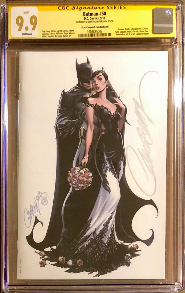 "Batman #50 J. Scott Campbell Edition G SDCC Virgin ""White Wedding"" Exclusive CGC 9.9 SS MINT!"