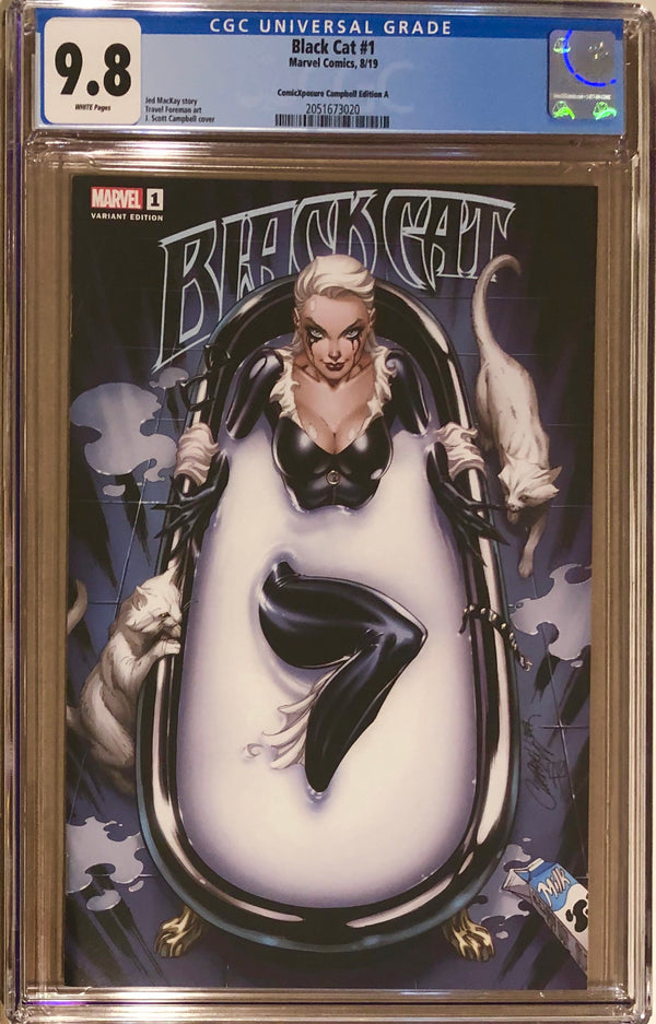 "Black Cat #1 J. Scott Campbell ""Milk Bath"" Exclusive CGC 9.8"