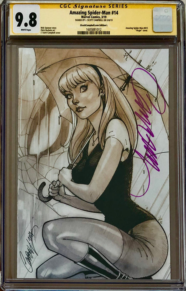 Amazing Spider-Man #14 J. Scott Campbell Edition L Gwen (kneeling) SDCC Virgin Exclusive CGC 9.8 SS