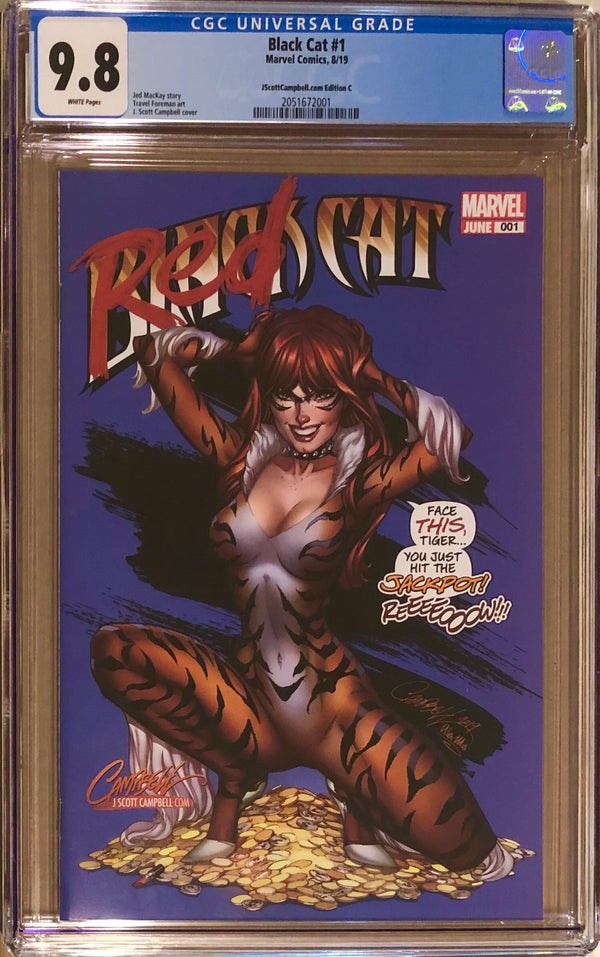 "Black Cat #1 J. Scott Campbell Exclusive C - ""MJ Red Cat"" CGC 9.8"