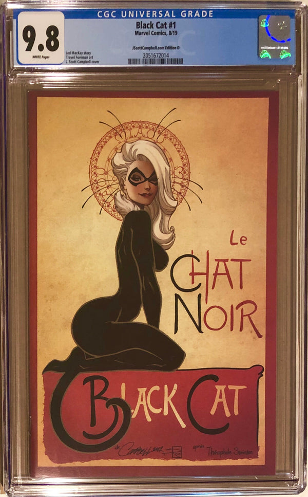 "Black Cat #1 J. Scott Campbell Exclusive D - ""Le Chat Noir"" CGC 9.8"