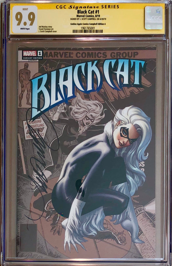 Black Cat #1 J. Scott Campbell Golden Apple Comics Exclusive CGC 9.9 SS