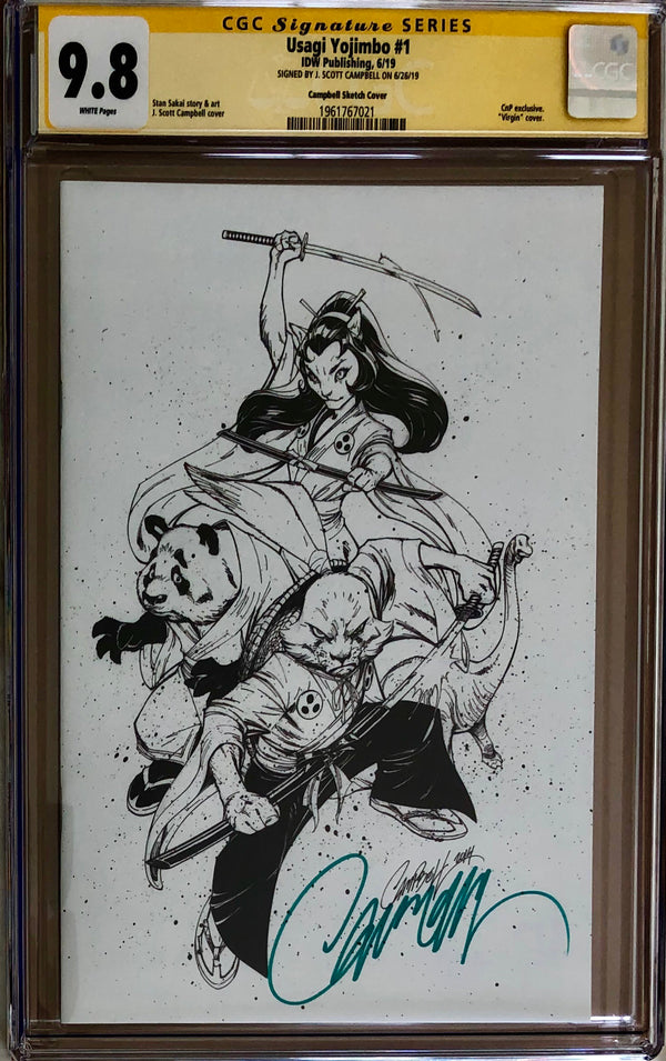 Usagi Yojimbo #1 J. Scott Campbell B/W Exclusive CGC 9.8 SS