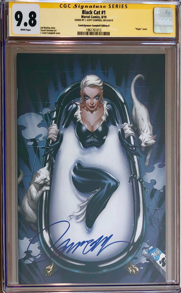"Black Cat #1 J. Scott Campbell ""Milk Bath"" Virgin Exclusive CGC 9.8 SS"