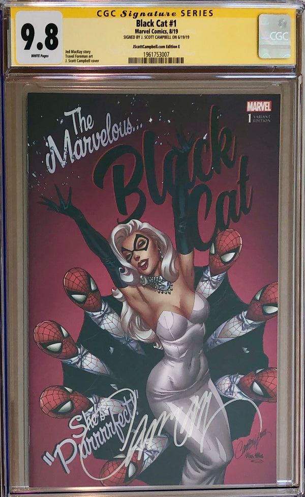 "Black Cat #1 J. Scott Campbell Exclusive E SDCC ""Marvelous Black Cat"" CGC 9.8 SS"