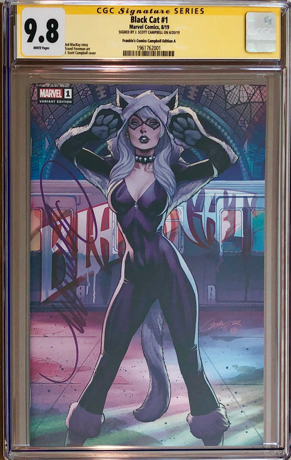 Black Cat #1 J. Scott Campbell Frankie's Comics Exclusive CGC 9.8 SS