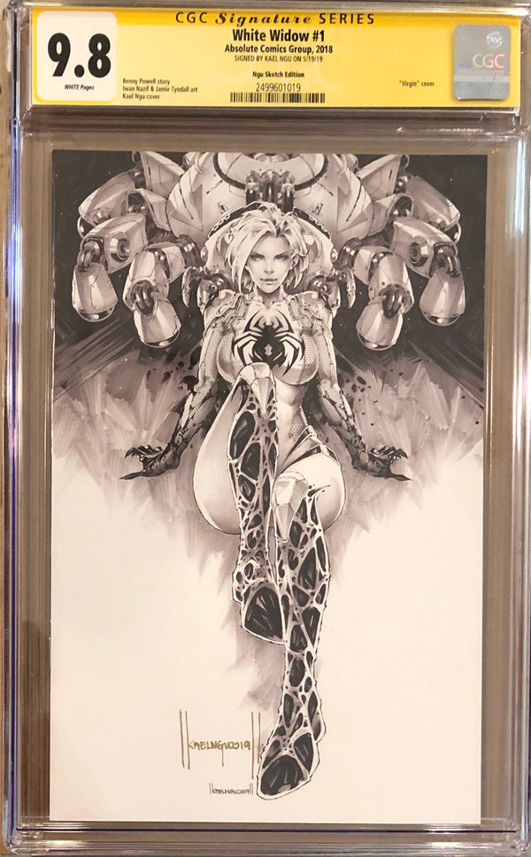 White Widow #1 Kael Ngu Convention Black & White Virgin Exclusive CGC 9.8 SS