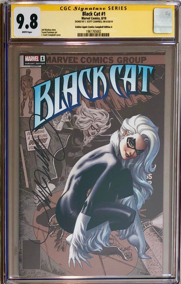 Black Cat #1 J. Scott Campbell Golden Apple Comics Exclusive CGC 9.8 SS