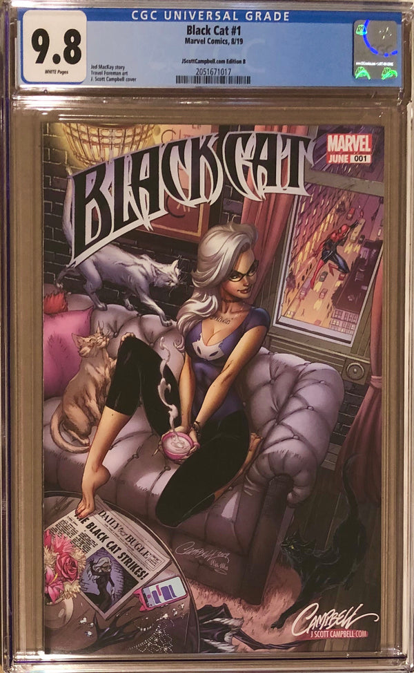"Black Cat #1 J. Scott Campbell Exclusive B - ""Felicia's Loft"" CGC 9.8"