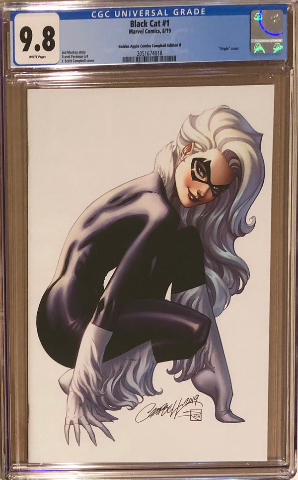 Black Cat #1 J. Scott Campbell Golden Apple Comics Virgin Exclusive CGC 9.8