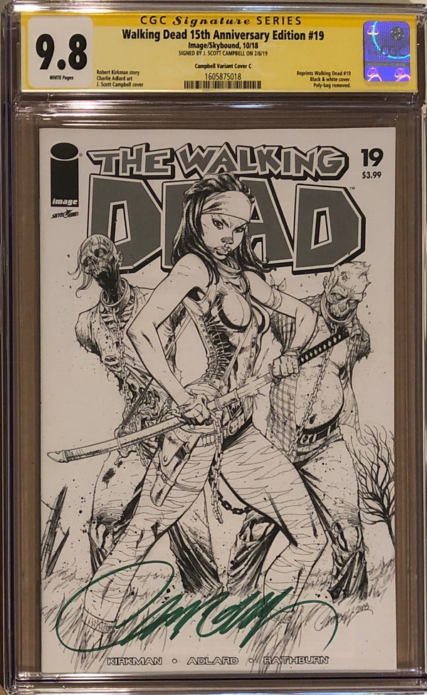 The Walking Dead #19 15th Anniversary Edition J. Scott Campbell B/W Sketch Cover CGC 9.8 SS