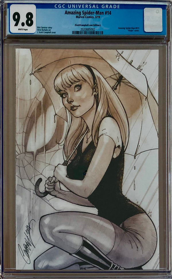 Amazing Spider-Man #14 J. Scott Campbell Edition L Gwen (kneeling) SDCC Virgin Exclusive CGC 9.8