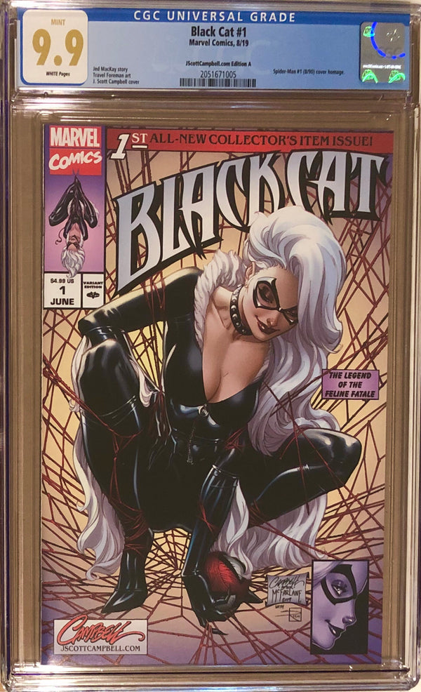 "Black Cat #1 J. Scott Campbell Exclusive A - ""McFarlane Homage"" CGC 9.9"