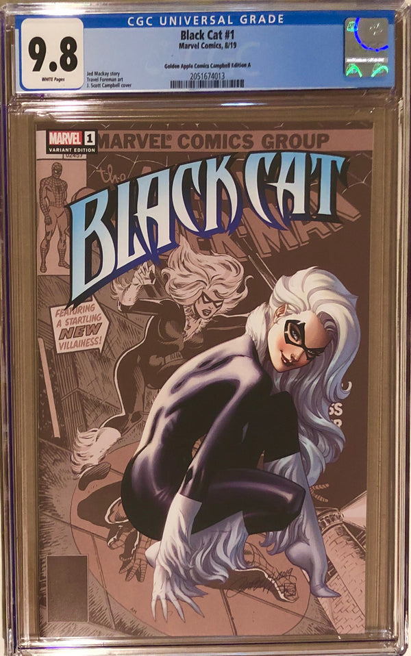Black Cat #1 J. Scott Campbell Golden Apple Comics Exclusive CGC 9.8