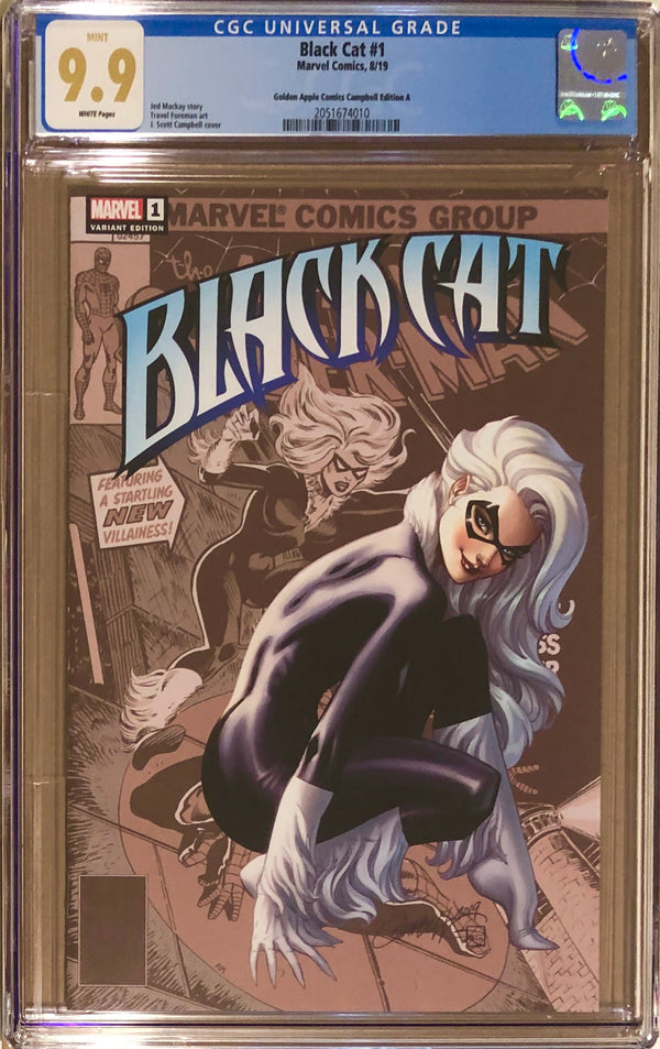 Black Cat #1 J. Scott Campbell Golden Apple Comics Exclusive CGC 9.9