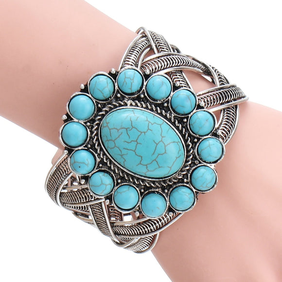 Vintage Hollow Bangle Big Flower Shape Turquoise Bangle Bracelet Women Fashion Jewelry