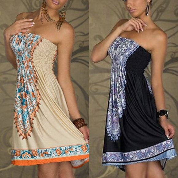 Sexy Women Mini Dress Casual Floral Bandeau Beach Summer Boho Maxi Sundress