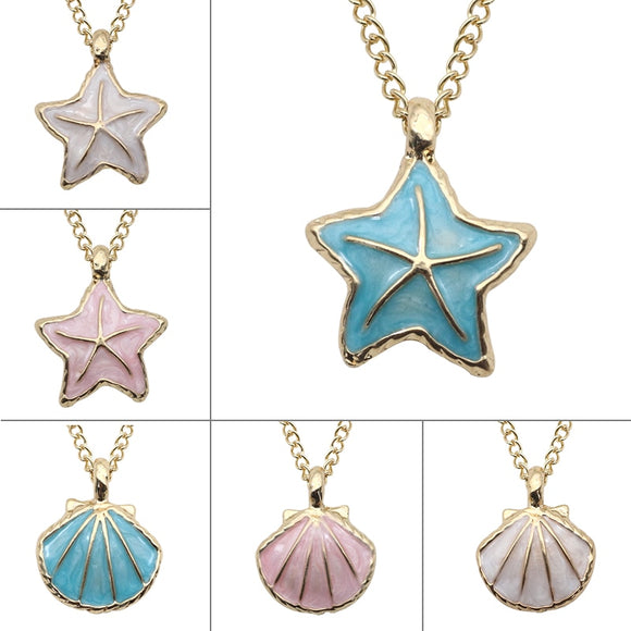 Starfish Shell Necklace Charm Pendant Enamel Star Choker Necklaces For Women Girls Fashion Beach Style Jewelry Colar Feminino