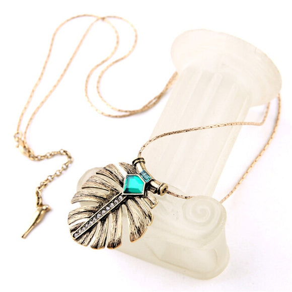 2016 New Fashion Vintage Leaf Green Crystal Necklaces & Pendants Charm Brand Jewelry Christmas Gift - The Rogue's Clothes
