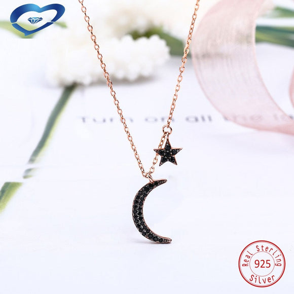 Black moon star 925 Sterling Silver chain pendant necklace For Women Fashion silver choker jewelry necklaces for girls - The Rogue's Clothes