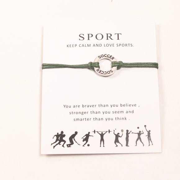 2018 Soccer Fans Gift I Love Soccer Wish Card Bracelet Charm Adjustable Bracelets 12 colors Wax Rope Wish Card Bracelet - The Rogue's Clothes