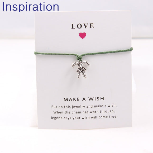 2018 Christmas Wish Card Bracelet Jewelry Christmas Candy Canes Charm Bracelet With Love Card 12 Colors Options - The Rogue's Clothes