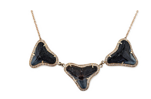 "Jacqiue Aiche ""Pave 3 Brown Shark Tooth Necklace"""