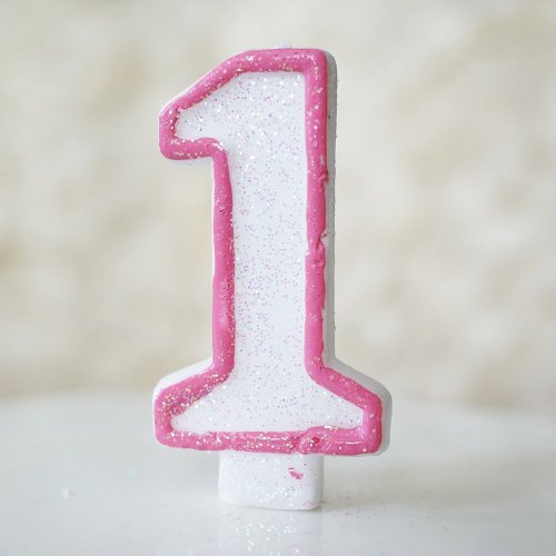Glittered # Number Candle - Choose Number