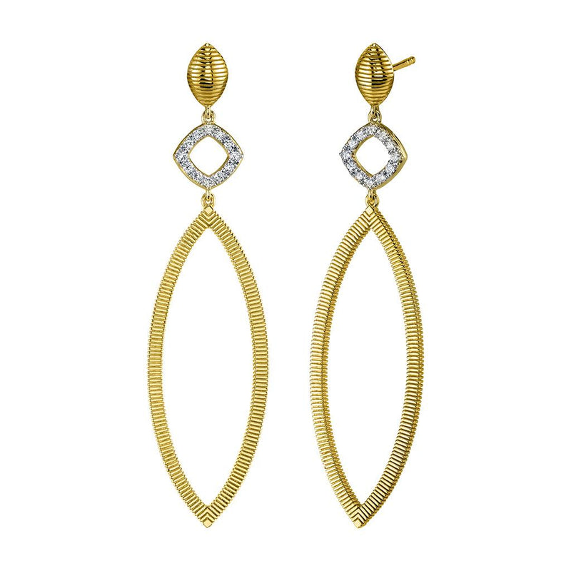 Marquise Diamond Dangle Yellow Gold Earrings
