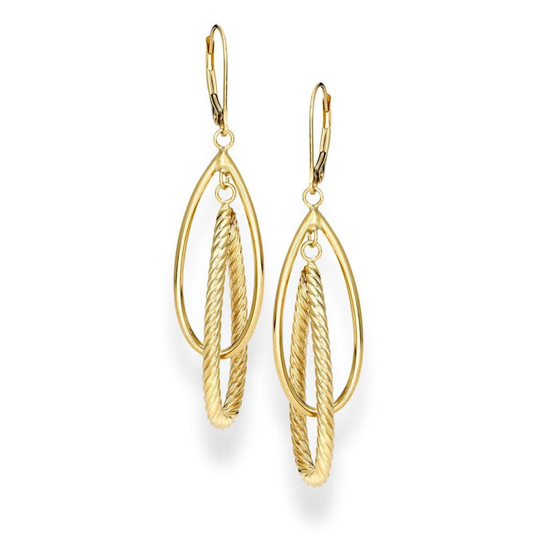 Interlocking Dangle Yellow Gold Earrings