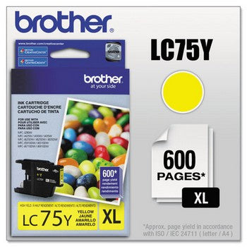 Brother LC-75Y Yellow, High Yield Ink Cartridge