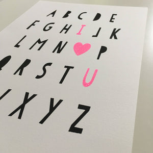 I Love You Alphabet Glitter Screen Print