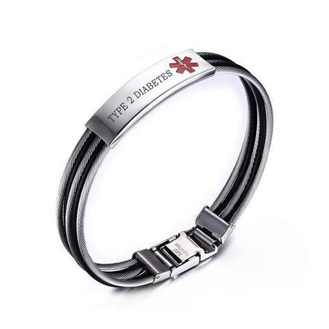 Mens Diabetic Medical Alert ID Bracelet - Banded Stainless Steel - For Type 1 and Type 2 Diabetes Health & Beauty Gadget Monkey TYPE 2 DIABETES