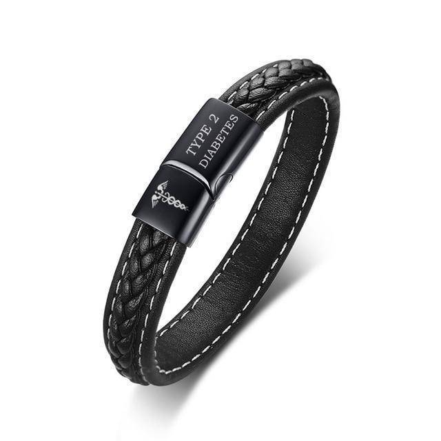 Mens Diabetic Medical Alert ID Bracelet - Stitched Black Leather - For Type 1 and Type 2 Diabetes Health & Beauty Gadget Monkey TYPE 2 DIABETES 19cm length