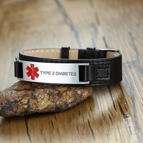 Diabetic Medical Alert ID Bracelet for Men, Genuine Leather For Type 1 and Type 2 Diabetes Health & Beauty Gadget Monkey TYPE 2 DIABETES