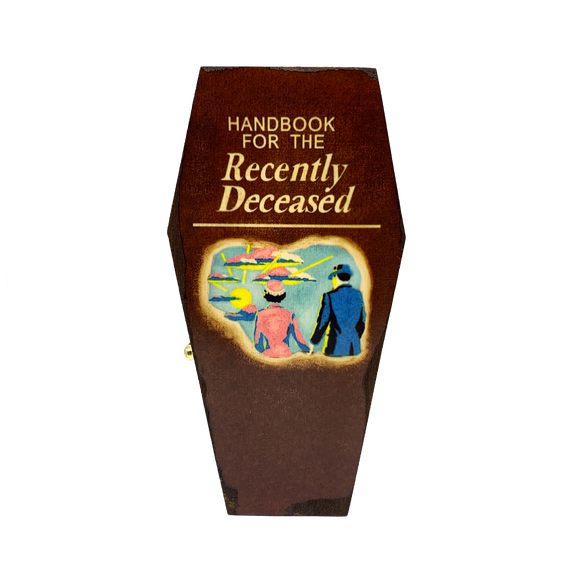 Handbook for the Recently Deceased Mini Coffin - UNMASKED Horror & Punk Patches and Decor