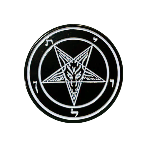 Pentagram Black & White Enamel Pin - UNMASKED Horror & Punk Patches and Decor