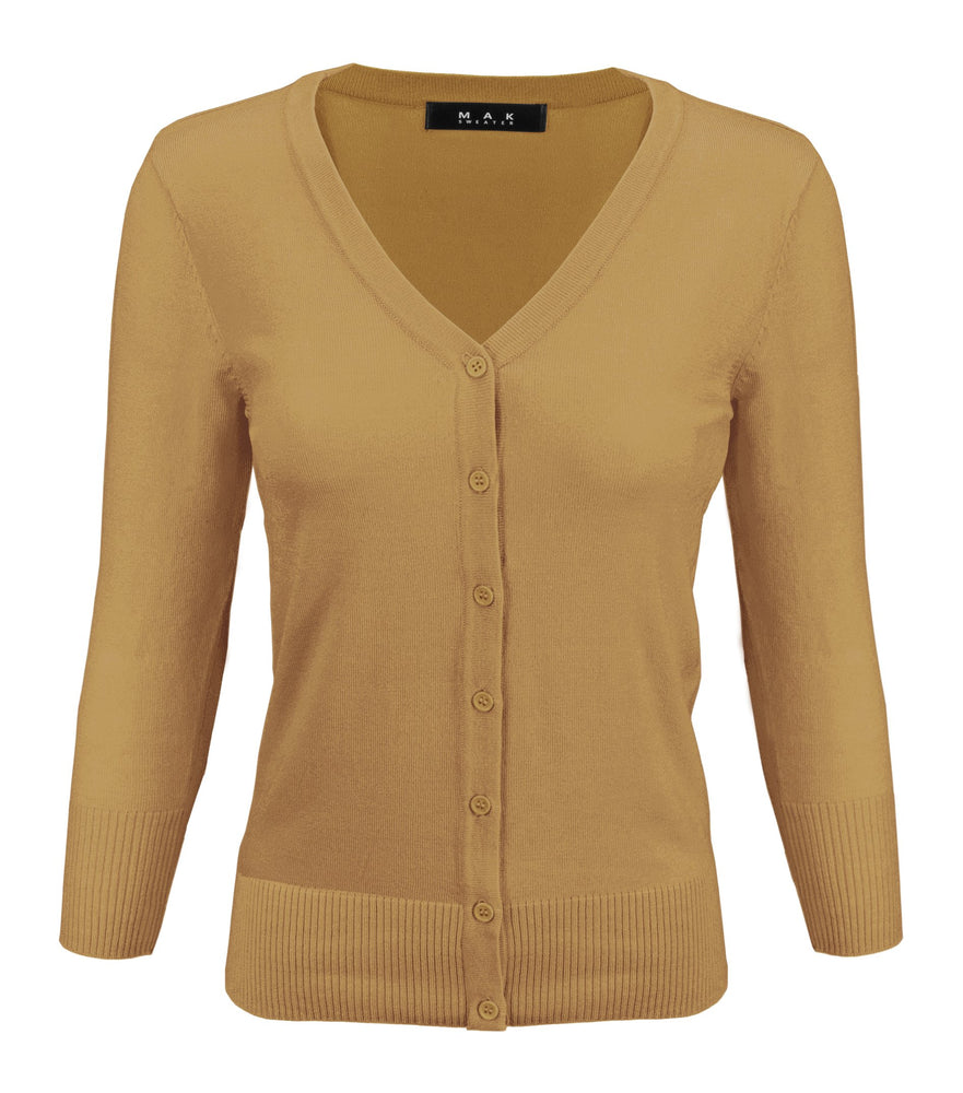Womens V-Neck Button Down Knit Cardigan Sweater Vintage Inspired CO078 (S-L) Color Option (2 of 2) - Cardigans-Sweaters