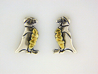 EP060  Puffin Small Silver Earring Posts
