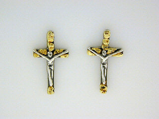 EP061  Cross Large Silver Earring Posts