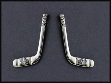 EP526D  Medium 14ktwith Hockey Stick Earring Posts with/ Diamond