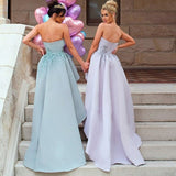 Unique Mermaid Strapless Mint Long Cheap Bridesmaid Dresses with Appliques, QB0013