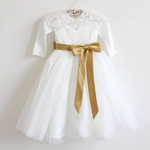 Cute A-Line Open Back Long Sleeves Tulle Long Cheap Flower Girl Dresses with Bow Knot, QB0100